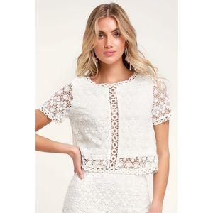 LULU'S Sweet Style white crochet lace crop top